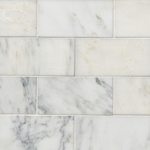 Hampton Carrara Polished Marble Subway Wall and Floor Tile - 3 x 6 in