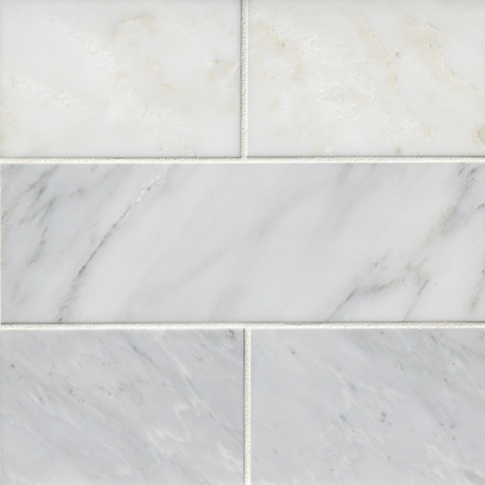 Hampton Carrara Polished Marble Subway Wall and Floor Tile - 4 x 12 in