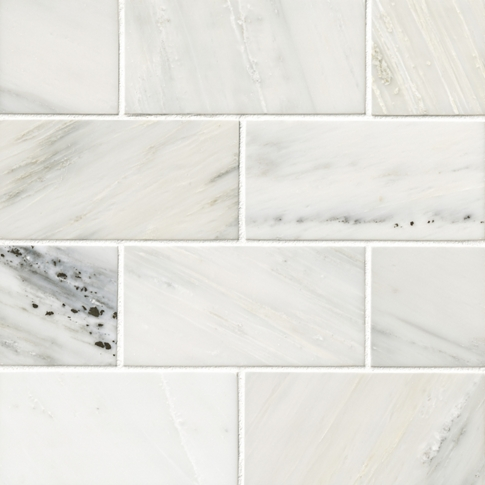 Hampton Carrara Satin Marble Subway Wall and Floor Tile - 3 x 6 in