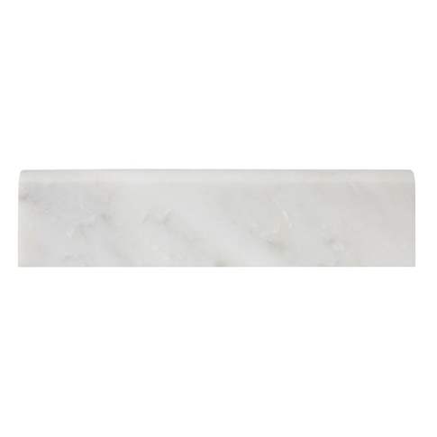 Hampton Carrara Polished Bullnose Marble Wall Tile Trim - 2 x 8 in