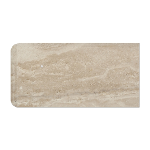 Veracruz Polished RES Single Bullnose Short Side Travertine Wall Tile Trim - 3 x 6 in