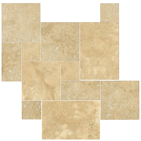 Bucak Medley Walnut  Small Versailles Travertine Wall and Floor Tile