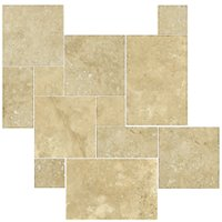 Bucak Medley Walnut Bushed Chiseled Small Versailles Pattern Travertine Floor Tile