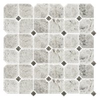 Tundra Gris Clipped Corner Marble Wall and Floor Tile - 12 x 12 in