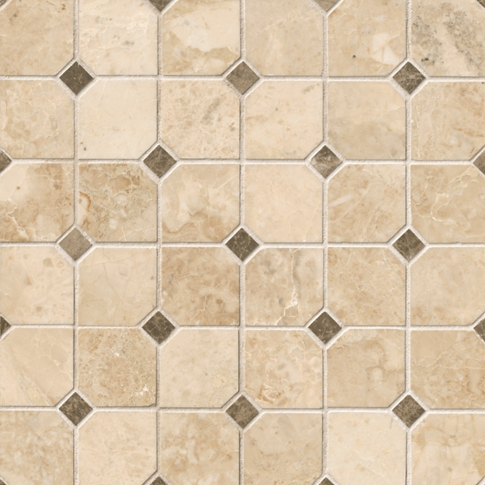 Cappuccino Clip with Dark Emperador Dot Marble Mosaic Wall and Floor Tile - 12 x 12 in