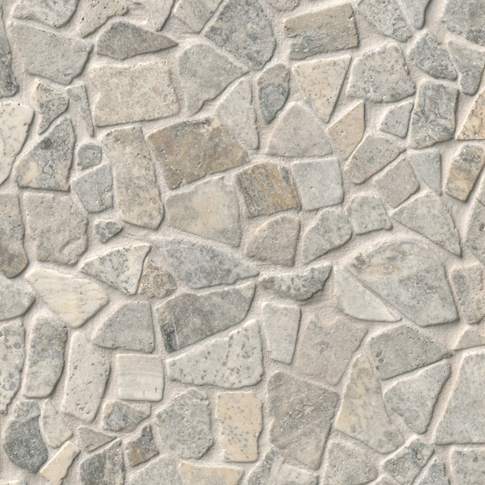 Claros Silver Tumbled Cobble Travertine Wall and Floor Tile - 12 x 12 in