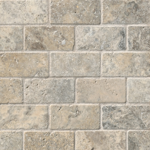 Claros Silver Tumbled Amalfi Travertine Wall and Floor Tile - 12 x 12 in