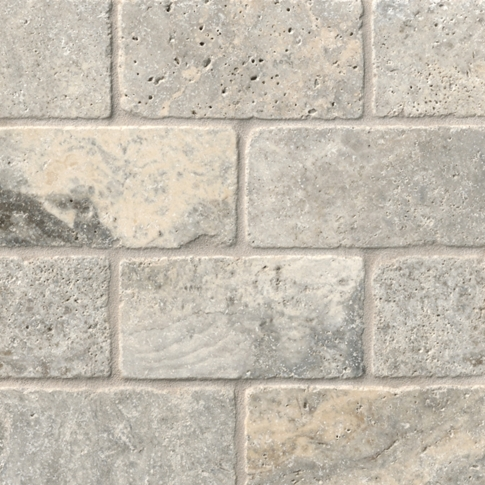 Claros Silver Tumbled Travertine Subway Wall and FloorTile - 3 x 6 in