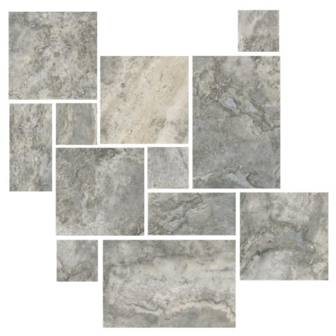 Claros Silver Honed Filled Small Versailles Pattern Travertine Wall and Floor Tile