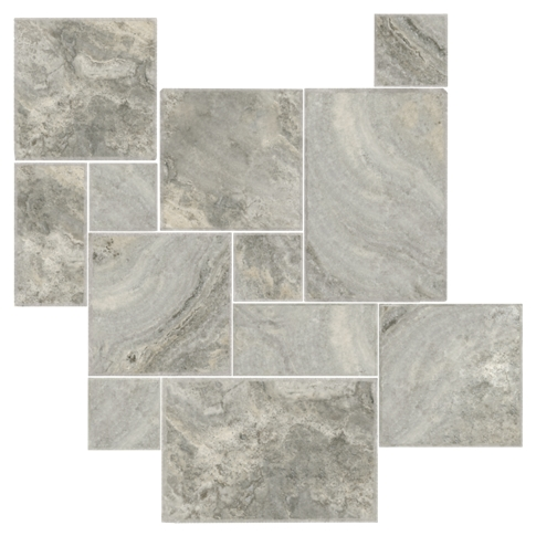 Claros Silver Brushed Chiseled Small Versailles Pattern Travertine Floor Tile