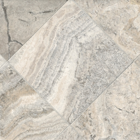 Claros Silver Honed Filled Travertine Wall and Floor Tile - 12 x 12 in