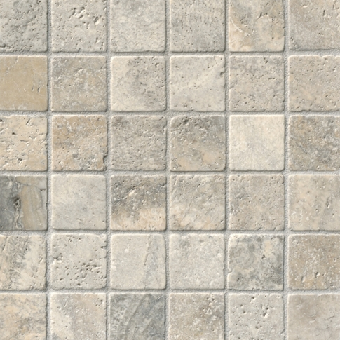 Claros Silver Tumbled Travertine Wall and Floor Tile - 2 x 2 in