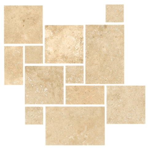 Bucak Light Walnut Honed Filled Large Versailles Pattern Travertine Wall and Floor Tile