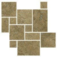 Bucak Dark Walnut Honed Filled Small Versailles Pattern Travertine Wall and Floor Tile