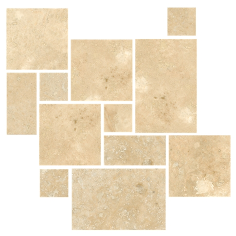 Bucak Light Walnut Honed Filled Small Versailles Pattern Travertine Floor Tile