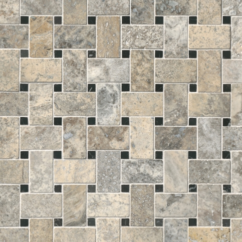 Claros Silver Honed Niles with Black Dot Travertine Mosaic Wall and Floor Tile - 12 x 12 in