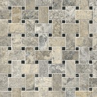 Claros Silver Honed Niles with Black Dot Travertine Mosaic Tile - 12 x 12 in.