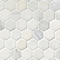 Hampton Tumbled Hex Marble Mosaic Tile - 2 in.