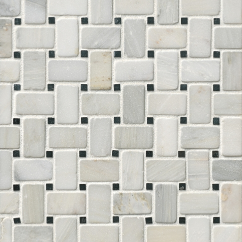 Hampton Tumbled Niles Marble Mosaic Wall and Floor Tile - 12 x 12 in