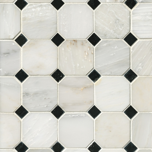 Hampton Hermosa Polished Octagon Marble Mosaic Tile - 3 x 3 in.