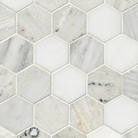 Hampton Carrara Hex Marble Mosaic Tile - 3 x 3 in.