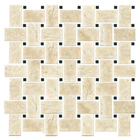 Sandlewood Noir Niles Travertine Mosaic Tile - 12 x 12 in.