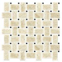 Sandlewood Noir Niles Travertine Mosaic Tile - 12 x 12 in.
