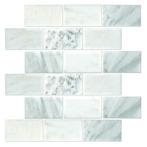 Hampton Carrara Polished Amalfi Marble Mosaic Tile - 12 x 12 in.