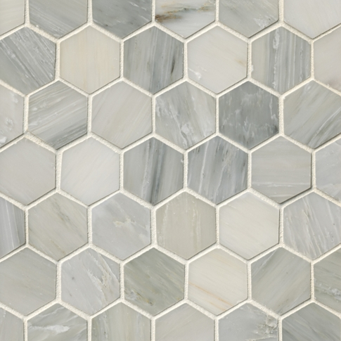 Hampton Carrara Hex Marble Mosaic Tile - 2 x 2 in.