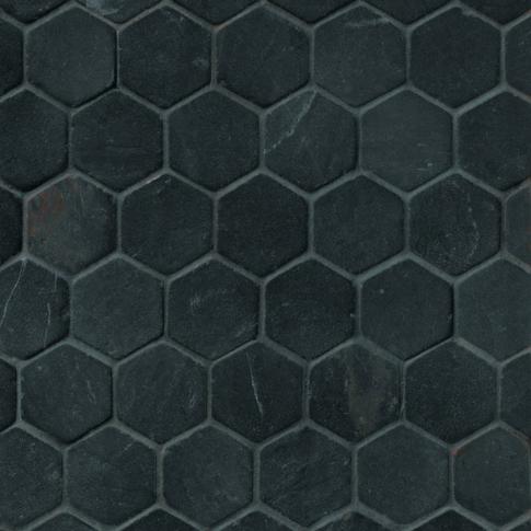 Noir Hex Travertine Mosaic Tile - 2 x 2 in.