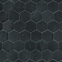 Noir Hex Travertine Mosaic Tile - 2 x 2 in.