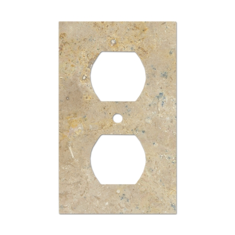 Sandlewood Duplex Travertine Decorative Switch Plate