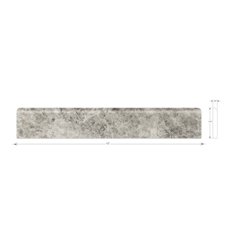 Silver Emperador Polished Bullnose 2 x 12 in
