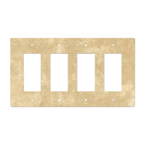 Bucak Light Walnut Four Rocker Switch Plate 8.25 x 4.5 in