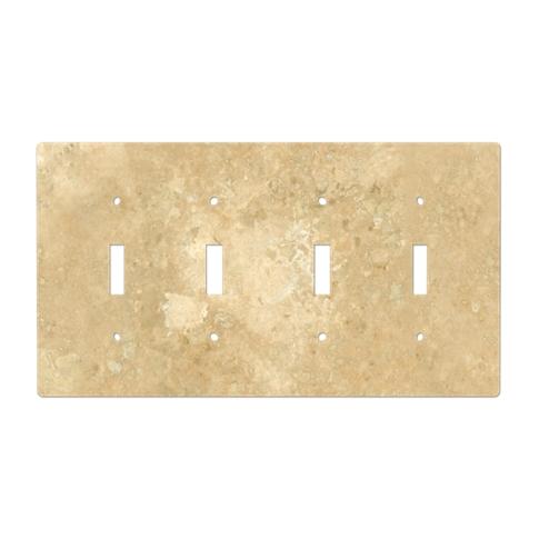 Bucak Light Walnut Four Toggle Switch Plate 8.25 x 4.5 in