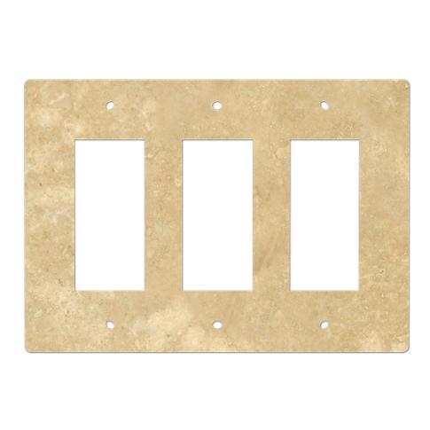 Bucak Light Walnut Triple Rocker Switch Plate
