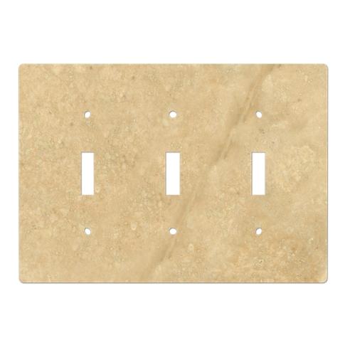 Bucak Light Walnut Triple Toggle Switch Plate 6.375 x 4.5 in
