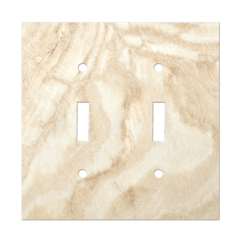 Ivory Double Toggle Switch Plate 4.5 x 5.5 in