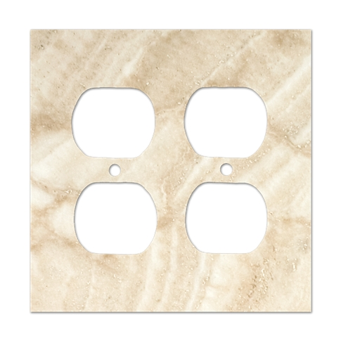 Ivory Double Duplex Switch Plate 5.5 x 4.5 in