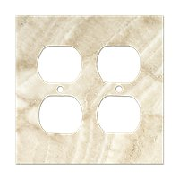 Ivory Double Duplex Switchplate 5.5 x 4.5 in
