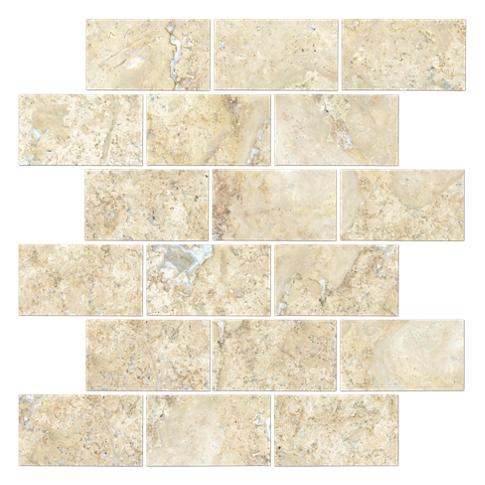 Sandlewood Tumbled Amalfi Travertine Mosaic Tile - 12 x 12 in.