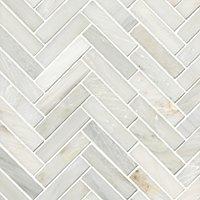 Hampton Large Herringbone Marble Mosaic Tile