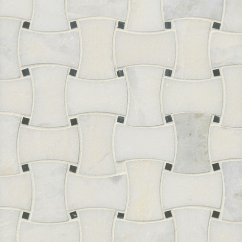 Tempesta Neve Polished Delray Marble Mosaic Tile - 10 x 10 in.