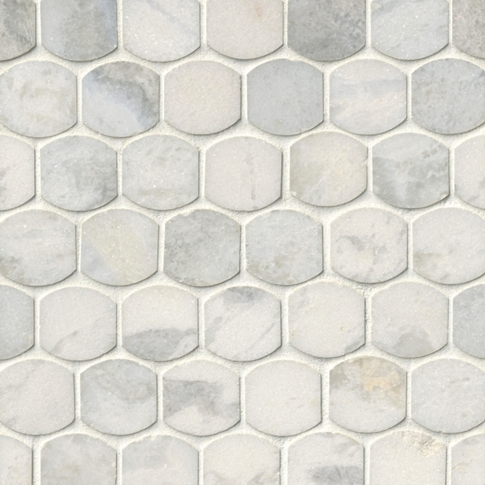 Tempesta Neve Polished Hex Marble Mosaic Tile 2 X 2 In