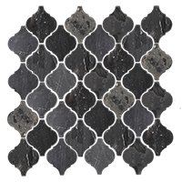 Noir Polished Arabesque Travertine Mosaic Tile