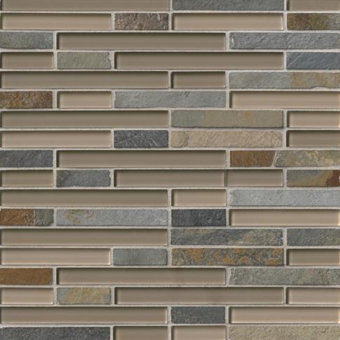 Breckenridge Stria with Glass Stone Mosaic Tile - 12 x 12 in.
