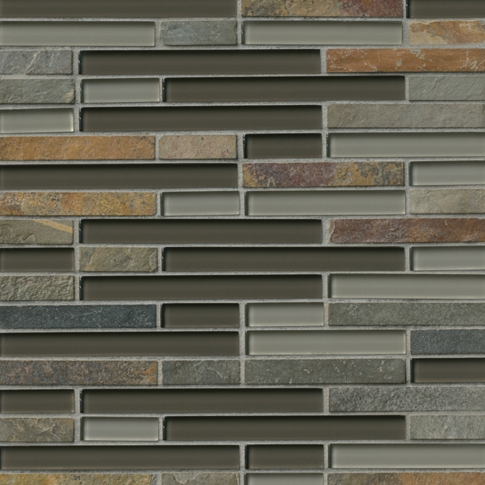 Aspen Stria with Glass Stone Mosaic Tile - 12 x 12 in.
