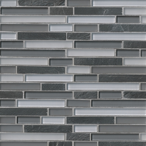 Woodlawn Stria with Glass Stone Mosaic Tile - 12 x 12 in.