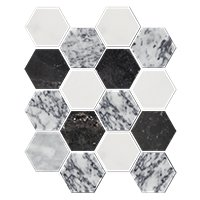 Grey Blend Polished Hex 3 x 3 in