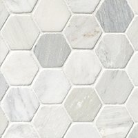 Hampton Carrara Tumbled Hex Marble Mosaic Tile - 3 x 3 in.